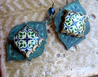 Moroccan earrings, Islamic jewelry, Handmade Islamic tile cabochon, Middle eastern arts, Islamic arts, Folk art jewelry, Ethnic jewelry