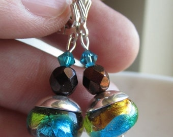 25% SALE Dichroic Glass Teal, Copper, Lime, Earrings, Lampwork Glass Bead Earrings, Sterling Silver, Under 25