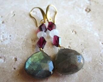 25% SALE Labradorite Drop Earrings, Moonstone and Garnet, Faceted Briolette Earrings, Gold, Under 50, Gold,