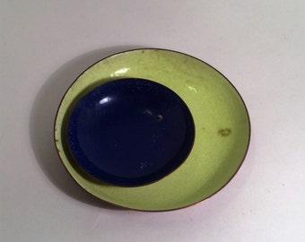 Vintage Enamel Copper Bowls Dishes Lime Green Cobalt Blue