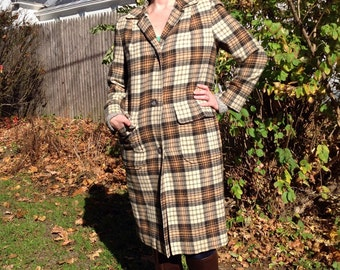 Wool Pendleton Plaid Womens Coat Large Size 14