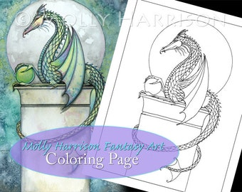 Green Dragon - Digital Stamp - Printable - Adult Coloring Page - Molly Harrison Fantasy Art - Digistamp Coloring Page - 8.5 x 11