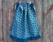 Teal Birds Print Toddler Dress or Girl's Tunic Top ONE SIZE Fits All from 18 months to girl's 10
