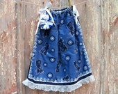 Blue Motorcycle Print Toddler Dress and Bow or Girl's Tunic Top ONE SIZE Fits All from 18 months to girl's 10