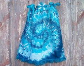 Teal Tie Dye Swirl Print Toddler Dress and Bow or Girl's Tunic Top ONE SIZE Fits All from 18 months to girl's 10