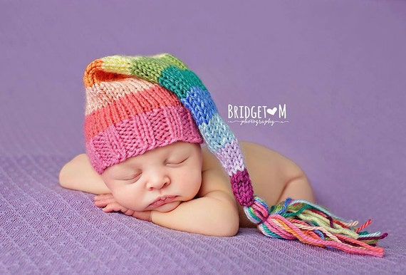 Pastel Rainbow Knitted Tassel Hat