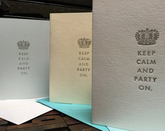 Keep Calm and Party On Birthday Letterpress Assortment - Set of 3