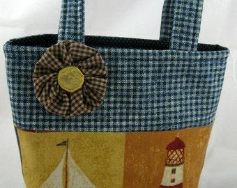 Mini Tote Bag, Nautical Bag, Hand Bag, Lunch Bag, School Bag, Device Bag, Young Girls Bag, Teen Bag, Reusable Gift Bag, FREE SHIPPING