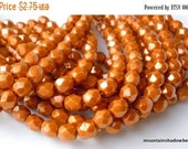 25% OFF Summer Sale Czech Glass Bead 6mm Faceted Round Bead - Halo Ethereal - Sandalwood - 25