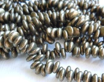 Lentil Beads - 6mm Lentil 6mm - Lentil 6mm : Metallic Suede - Antique Gold  Czech Glass Beads (G - 435)