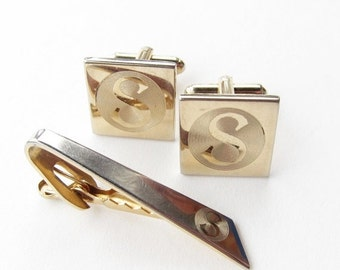 ON SALE Monogram Cufflink Set Letter S Gold Tone Vintage Cuff Links and Tie Bar Tack