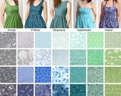 Custom size Coordinating styles – Bridesmaid Party Dresses with Pockets – Blue Green Mint Sage Gray floral prints - Cotton