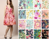 Custom Cotton V-Neck Fit and Flare Dress with Pockets  - Bright Floral Print Options