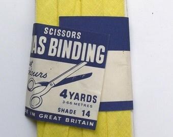 Vintage Bias Binding - Scissors- Lemon Yellow 12mm 1/2 inch - perfect condition