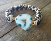 Tibetan Agate and Geode Bracelet, Gemstone Bracelet, Black and White Bracelet