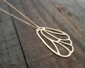 Gold Wing and 14K Gold Filled Necklace, Gold Angel Wing Necklace