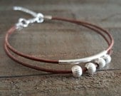 Brown Leather Cord and Sterling Silver Bead Bracelet, Sterling Silver Spacer and Beads Bracelet, Leather Wrap, Modern Jewelry
