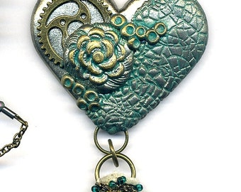 Polymer clay pendant - necklace - heart Statement