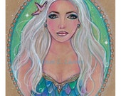 Original drawing fantasy portrait mermaid Albania  by Renee Lavoie
