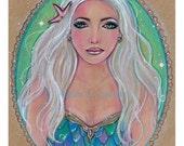 Original drawing fantasy portrait mermaid Albania  by Renee Lavoie