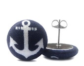 Covered Button Stud Earrings - Surgical Steel, Nickel Free Posts - Nautical Anchor Print in Navy