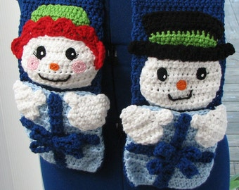 Crochet Pattern - Boy & Girl Snowman Scarf Crochet Pattern- Snowman Pattern - Scarf Pattern - Christmas Gift - Digital Download