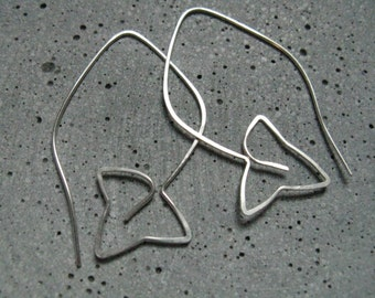 Ivy leaf silver earrings, modern minimalist  earrings, simple,  elegant, Nature Goddess symbol