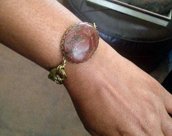Jasper Chunky Big and Bold Brass Chain Bracelet - boho style jewelry - burgundy and grey - Bohemian Red Wine Gemstone Bracelet Free Shipping