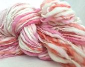 Handspun Thick Thin Yarn, Bulky- SALMON ROSE- merino, knit, weaving,crochet, craft supplies, doll hair 102yds.