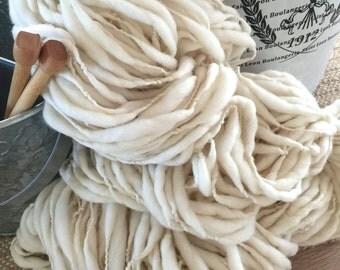 Yarn Handspun Thick and Thin Bulky NATURAL - merino crochet, knit, craft supplies, baby prop yarn, waldorf doll hair  200yds.
