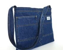 Shoulder bag,Recycled denim purse, Jean shoulder bag,Upcycled tote bag,Blue jean purse,Reclaimed jean bag,Teens shoulder purse,Shop Canada