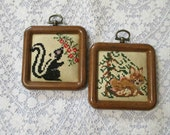 Woodland Creatures Embroidered Small Wall Plaques Skunk and Fox Wooden Frame