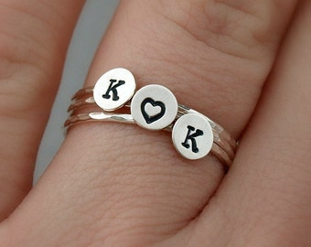 Custom Sterling Silver Initial Ring Set , Tiny Ring Stack , Personalized Jewelry