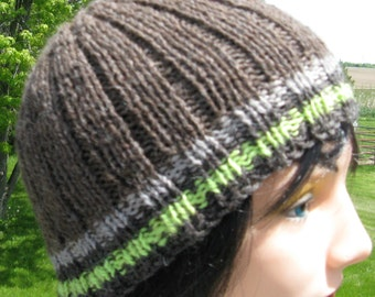 Knit Wool Hat for Men or Women, Wool Handmade Beanie, Brown Ribbed Hat