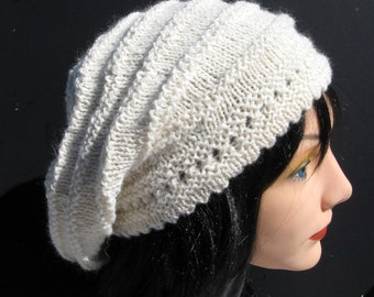 White Slouchy Beanie, Slouch Hat, Alpaca and Wool Hat, Womens Baggy Beret