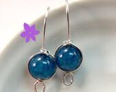 Dark Teal Blue Dragon Vein drop earrings Sterling Silver