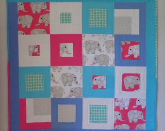 NEW Baby Elephants Baby Quilt, Hot Pink, Aqua, Grey, Periwinkle, 42 x 42 inches