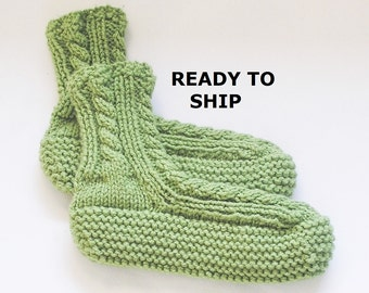 Womens Slippers Bedsocks, Hand Knitted Spring Green, Ladies Size 7 - 8