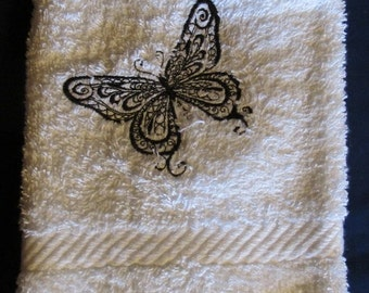 Black Butterfly Outline on White Bath Hand Towel Butterfly Eye Catching
