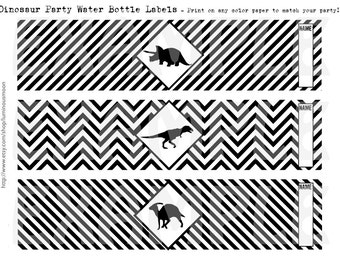 PDF: Dinosaur Water Bottle Wraps 12 Designs for Dinosaur Themed Birthday Party - Silhouette Caution Crossing Sign