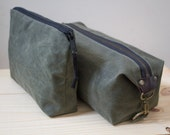 Men's Dopp Kit and Zipper Pouch Set, Toiletry Bag, Gift for Men, Matching Travel Bags for Couples  - Waxed Canvas - Olive Green - Handmade