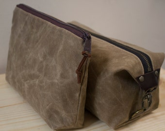 Waxed Canvas Dopp Kit and Zipper Pouch Set, Toiletry Bag, Gift for Men, Matching Travel Bags for Couples - Tan - Handmade