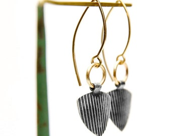 Striped Industrial Earrings - Silver and Gold Fill Dangle Triangle Earrings Handmade by Queens Metal