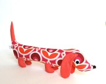Fuchsia and Tangerine Wiener Dog Softie for Kids Plush Toy Dachshund Baby Toy Stuffed Animal GRETA