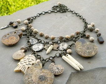 ammonite fossil necklace, natural statement necklace, vintage rosary, long bib, one of a kind