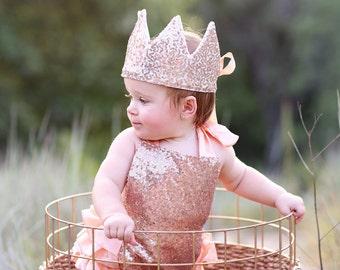 Dress Up Crown - Sequin Crown - Birthday Crown - Rose Gold Crown- Rose Gold Crown - Fits all - Reversible Crown