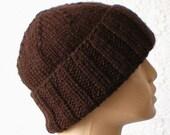Dark brown slouchy hat, watch cap, brimmed beanie, men's hat, women's hat, ski, snowboard, chemo cap, winter hat, knit hat, biker cap