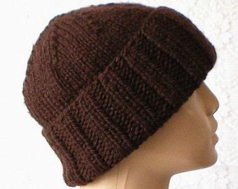 Dark brown watch cap, slouchy hat, brimmed beanie, brown hat, ski snowboard, winter hat, toque, biker runner, skateboard, mens womens hat