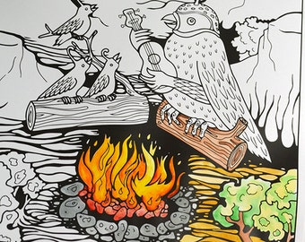 "Adult coloring page by Poxodd, Based On ""Quail Campfire Sing Along"".  Birds, Camping, Music. Printable Download PDF JPG"
