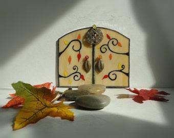 SALE, Autumn Fairy Door, Garden Sculpture, Outdoor Garden Art, Home Decor, Stained Glass, Fairy Garden Accessories, Terrarium Decor, Leaves